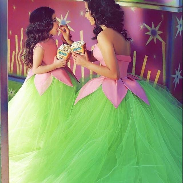 Танк девушка Жилетido-де-ла muchacha детская одежда платье зеленый тюль мяч конкурс ...