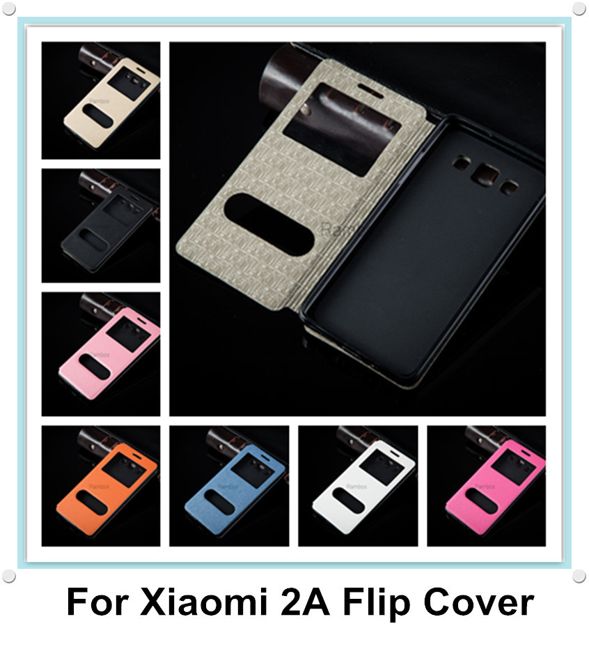 Luxury PU Leather Flip Window Case Cover Stand for Xiaomi 2A Mi2A M2A(China (Mainland))