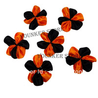 Free shipping 2'' Halloween Two Tone Orange/Black  single Satin Ribbon Flowers for you DIY  250PCS/LOTS(CF02)