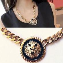 12pcs/lot Wholesale Free Shipping heavy metal black lion head portrait coarse necklace vintage chain Choker Collar Necklace(China (Mainland))