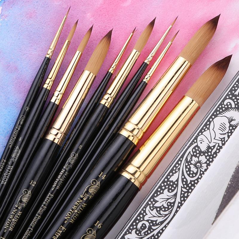 Winsor newton noir poign e nylon ronde pinceaux pour for Peinture acrylique cuisine