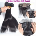 Ear To Ear Silk Base Lace Frontal With Bundles Peruvian Virgin Hair Straight With Frontal Human