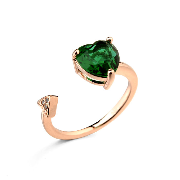 Fashion opening jewelry18k rose gold plated cut Austrian green crystals heart ring for women's party gift accessory (R872108)(China (Mainland))