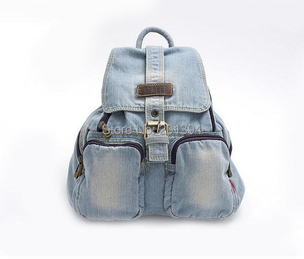 Classic Fashion Preppy Trendy Style Denim Cotton Women Backpacks Girl Retro Jeans Backpack Bag Travel Hiking Camping Bags(China (Mainland))
