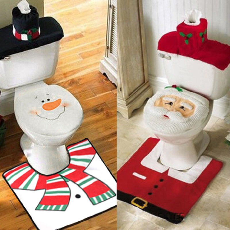 santa claus bathroom 3pcs set toilet seat cover decoration snowman