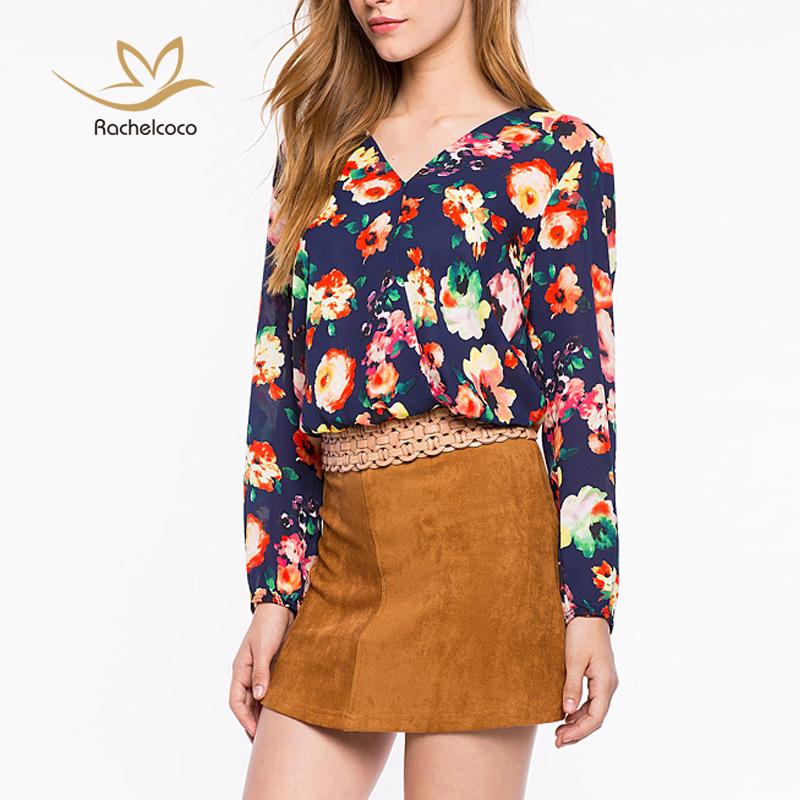 Women Chiffon Blouse Fashion Cute Flower Printing Shirts ...