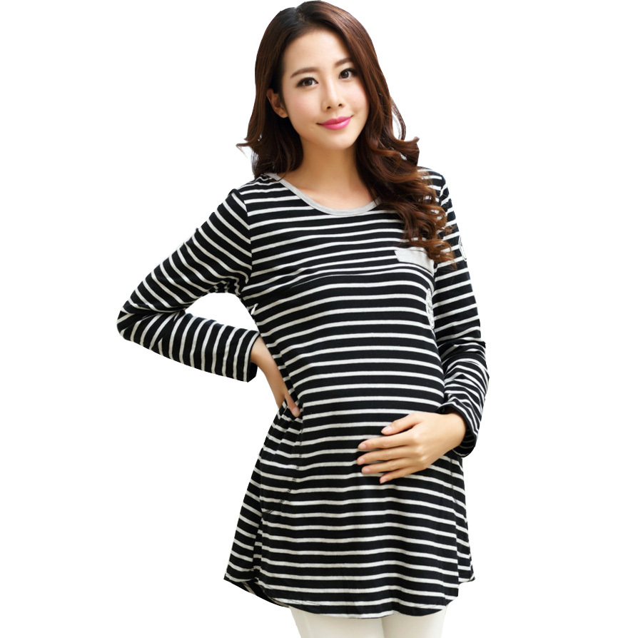 100% Cotton Nursing T Shirts & Blouses for Pregnant Women Long-sleeve Maternity Tops Casual Breastfeeding Clothes for Winter(China (Mainland))
