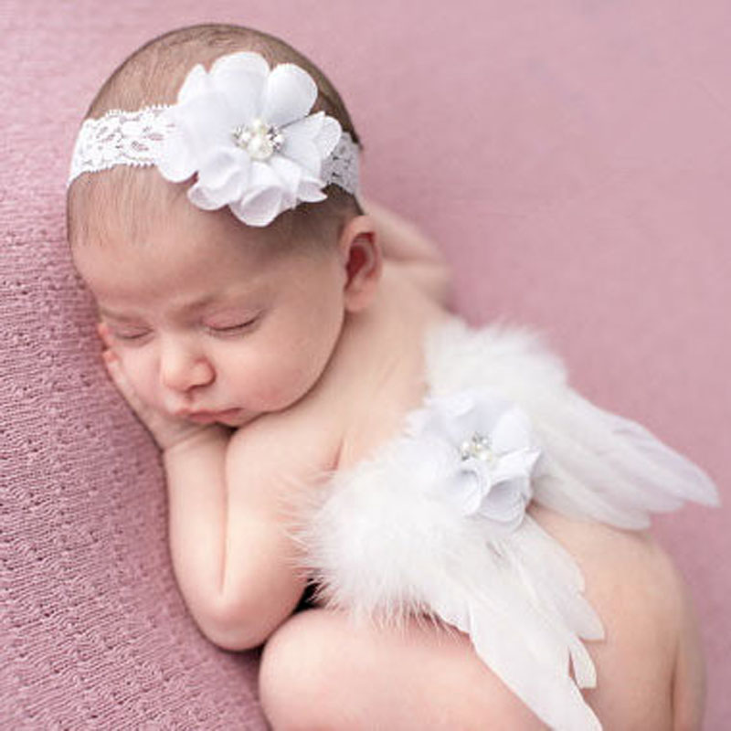 Couture Fairy Newborn Baby Photo Prop Little Girl Angel Feather Wings with Flower Headband Girls Hair Accessories 1set HB253<br><br>Aliexpress