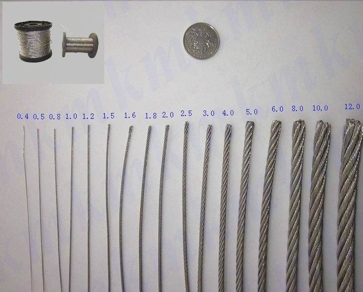 Free Shipping Wholesale 100M/Roll AISI 316 Stainless Steel Wire Rope 7X7 Structure 0.8MM Diameter(China (Mainland))