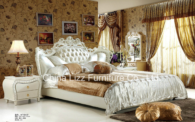 Lizz Leather King size Upholstered Bed.Let this plush and elegant Modern Upholstered Bed carry you off to sleep.(China (Mainland))