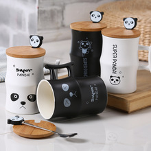 Cute Panda Bamboo Creative Office Ceramic Cup With Spoon Black And White Couples(China (Mainland))