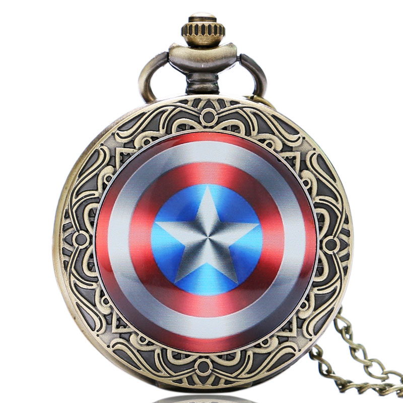 New Arrice Marvel Comics Captain America Shield Weapon The First Avenger Pocket Watch Necklace Steve Rogers Quartz Watches(China (Mainland))