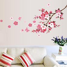 Großhandel schöne sakura wandaufkleber wohnzimmer schlafzimmer dekorationen 739. Diy blumen pvc startseite decals kunst poster 3,5(China (Mainland))