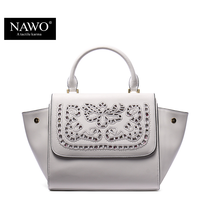 NAWO 2016 New Women Leather Handbags Floral Designer High Quality Trapeze Bag Summer Leather Hollow Out Ladies Shoulder Bag(China (Mainland))