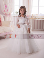 JY 2016 Off The Shoulder Flower Girl Dresses Long Sleeve Girl Ball Gown Tulle Lace Sash Flower Girl Dress First Communion Dress