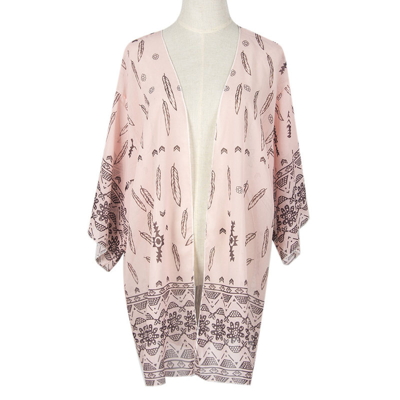 Sexy Boho Women Summer Blouse Fashion Floral Print 3/4 Sleeve Casual Loose Kimono Cardigan Long Beach Wear Tops Cardigan AC3127(China (Mainland))
