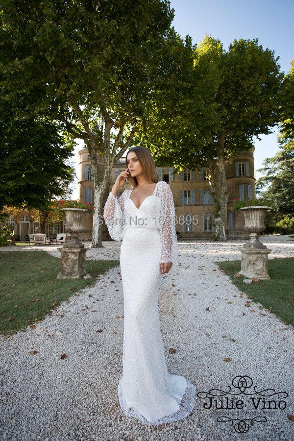 2014 Romantic Wedding Dresses Sheath Pearls Lace Dress Sweetheart Neckline Open Back Long Sleeves Julie Vino - Customize & Event store