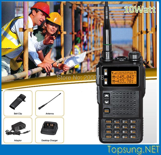 High Power 10 watt Tri-band VHF/UHF two way radio transmitter transceiver radios w/ DTMF/ ANI /Scramble function+LED flashlight(China (Mainland))