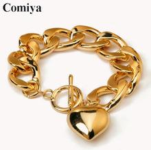 Comiya Big hand Gold Link Chain Heart Pendant pulseiras punk fashion bracelet bracelets for women bijoux vintage jewelry(China (Mainland))