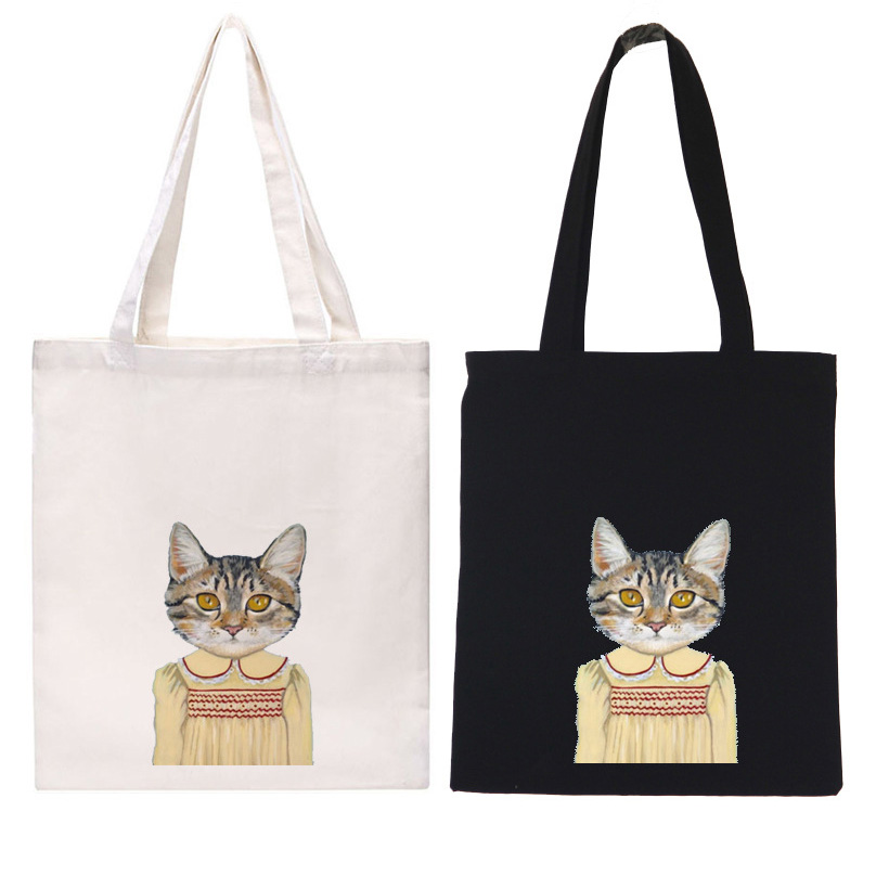 New luxury women designer handbags high quality brand tote bag CANVAS woman shoulder bag womens hand bags ladies cat printed bag(China (Mainland))