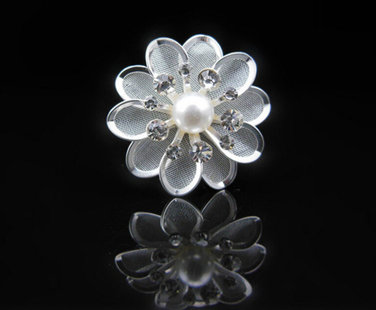 Free Shipping 36pcs Crystal Metal Flower+Pearl Hair Pins Wedding party Bride hair grips Woman Girls(China (Mainland))