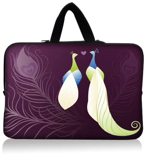 Fashion Hot new Peacock 10'' 10.1'' Inch Soft Neoprene Laptop Sleeve Carry Bag Case Pouch + Hide Handle Tablet PC Wholesale(China (Mainland))