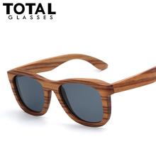 Zebra Wood Sunlasses Men Flat Top Polarized Sunglass Women fashion Glasses Coating Revo Mirror Lentes Oculos Madeira Bambu