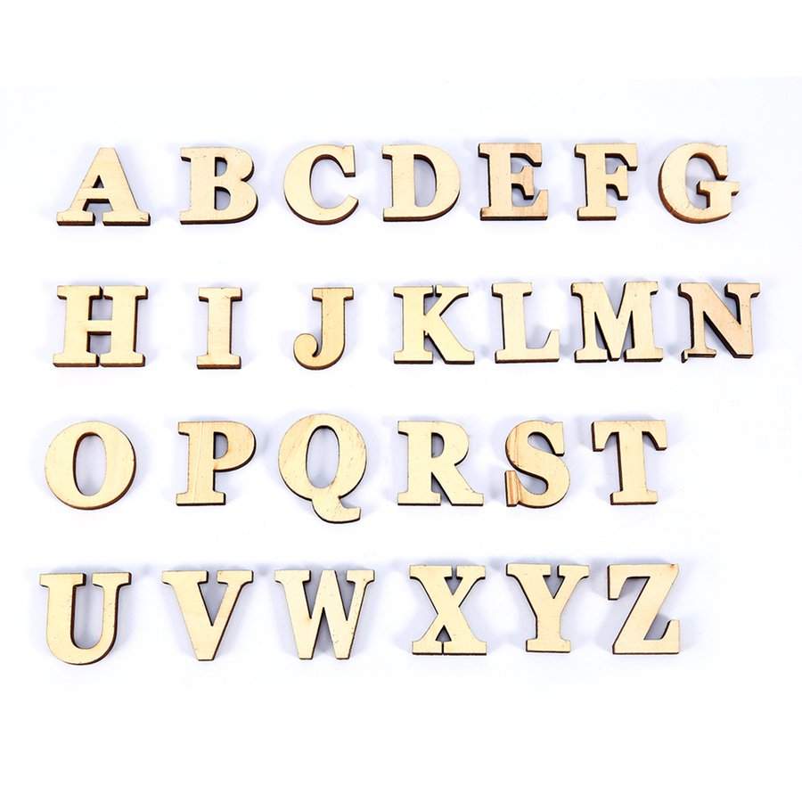 26Pcs/Lot High Quality Wood Crafts Made DIY English Letters Decorative Self-Adhesive Accessories(China (Mainland))