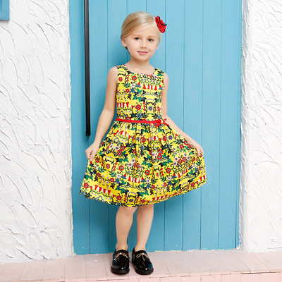 Yeskoala  2016 New Girls Summber Dress Fashion Print Sleeveless Casual Dress  Drop Shipping