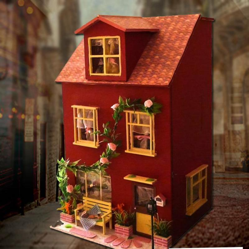 Home Decoration Crafts DIY Doll House large Wooden Dolls House 3D Miniature Model Kit dollhouse Furniture Room LED Light(China (Mainland))