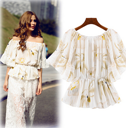 2015 European and American women summer big lotus leaf collar short sleeve blouse two wearing loose sprint chiffon shirt(China (Mainland))