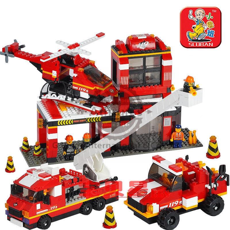 Sluban Firefighter Mass Dispatch B0227 Building Block 745pcs Educational DIY Jigsaw Construction Bricks toys for children toys(China (Mainland))