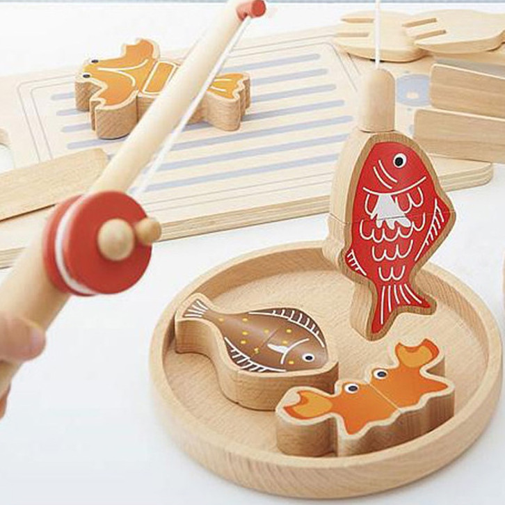 Wooden Kitchen Accessories Toys: Magnetic Fishing Kitchen Accessories Cooking Tools Cutting