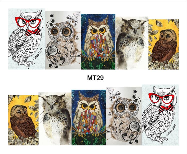 1 Sheet Nail MT29 Full Cover Color Cartoon Cute Owl Nail Art Water Transfer Sticker Decal For Nail Art Tattoo Tips DIY Nail Tool(China (Mainland))