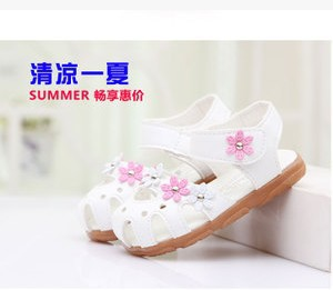 Children's sandals in summer 2015 explosion models Korean baby toe guards took Baotou soft bottom shoes women tendon(China (Mainland))