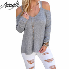 Awaytr Sexy Grey Hollow Out Solid Shirt for Women Trendy Autumn Slim Long Sleeve Tees Sexy Lady Club off the Shoulder Tops &Tees(China (Mainland))