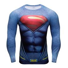 Compression Shirt Batman VS Superman 3D Printed T-shirts Men Raglan Long Sleeve Cosplay Costume Fit Gym Clothing Sport Tops Male - Youthful Vitality store