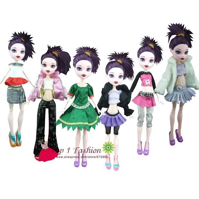 Free Shipping 5sets Clothes Dress Suit Outwear Pants For Monster High Dolls And For Bratz