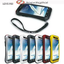LOVE MEI Aluminum Metal Case Note 2 Shockproof Dirtproof Waterproof Cover for Samsung Galaxy Note2 N7100 Gorilla Glass LoveMei(China (Mainland))