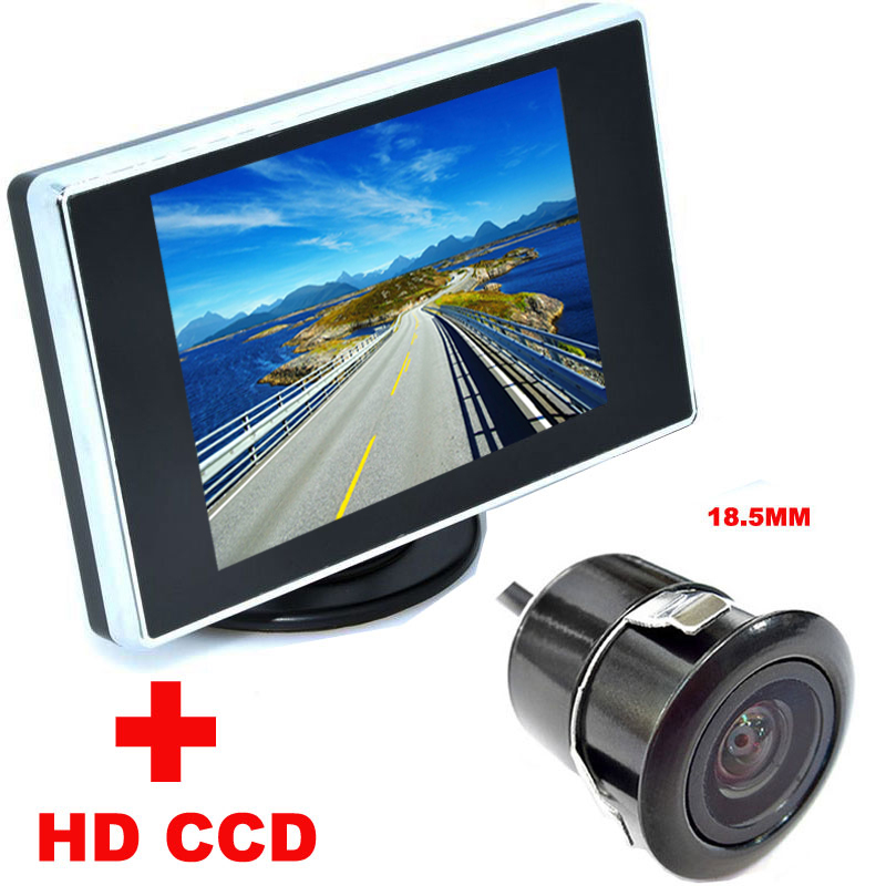 4.3 inch Color LCD Car Video Foldable Monitor Camera + Night Vision Car CCD Rear View Camera2 in 1 Auto Parking Assistance(China (Mainland))