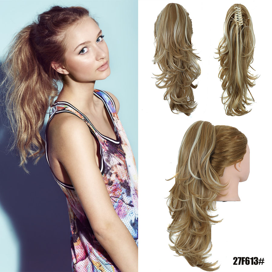 Hot long Ombre synthetic Wavy Hair Pony Tails Horse Tress Fake Hair Extensions Claw Clip Drawstring Ponytail Hairpieces Pieces