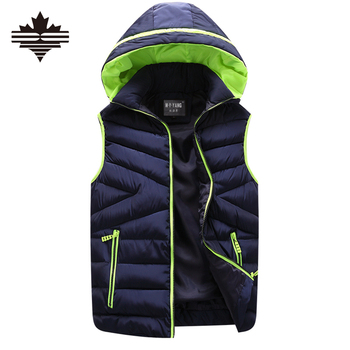 Men's Vest Winter Men Brand Sports Hooded Vest Male Outdoor Fashion Cotton-Padded Waistcoat Jacket and Coat Warm Vest 3XL 2XL
