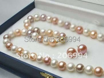 """handmade 7-8mm Freshwater White Pink Purple Pearl Necklace Earrings set 18''"""" free shipping fashion jewelry set"""