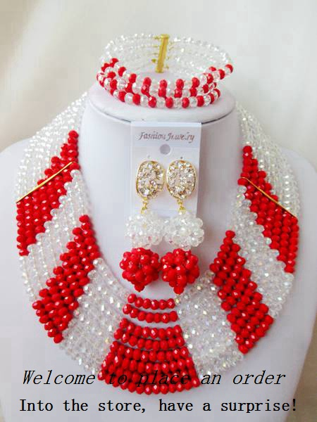 2015 Fashion Clear AB african crystal beads necklace set nigerian wedding african beads jewelry set Free shipping P-1966<br><br>Aliexpress
