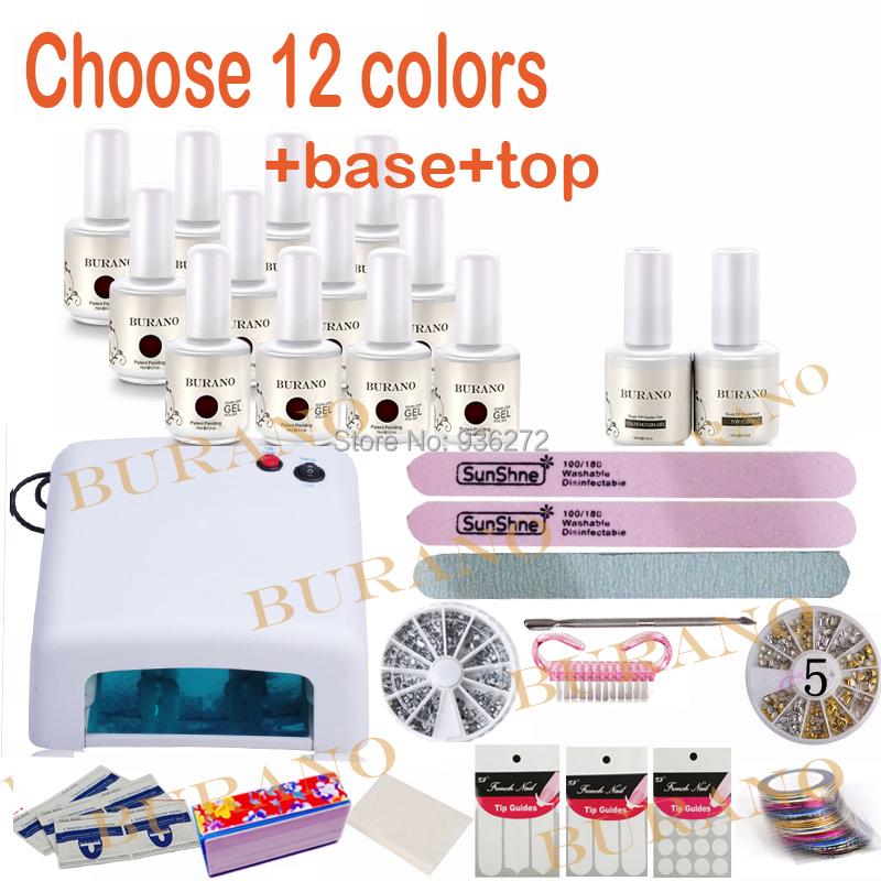 Burano choose 12 colors shllec uv lamp nail tools manicure kits sets uv gel polish nail art tools<br><br>Aliexpress