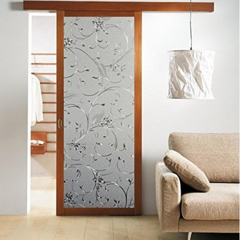Decorative Floral Glass Shower Door Flower Decorative Self Adhesive Static Privacy Glass Window Door