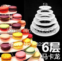factory wholesale free shipping high quality 6 tiers Clear Acrylic Macaron Stand Acrylic cake macaron display Stand(China (Mainland))