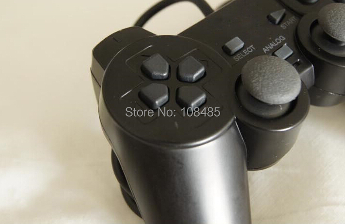 Black Wired 1.8M Shock Remote Controller joystick Gamepad Joypad for Sony PlayStation 2 PS2(China (Mainland))