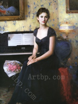 reproduction print on canvas Girl in the p y fashion portrait Classical wall art decoration High quality gifts High quality