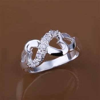 Fashion Jewelry 925 Silver Inlaid 8-shaped Ring R049-10 D(China (Mainland))